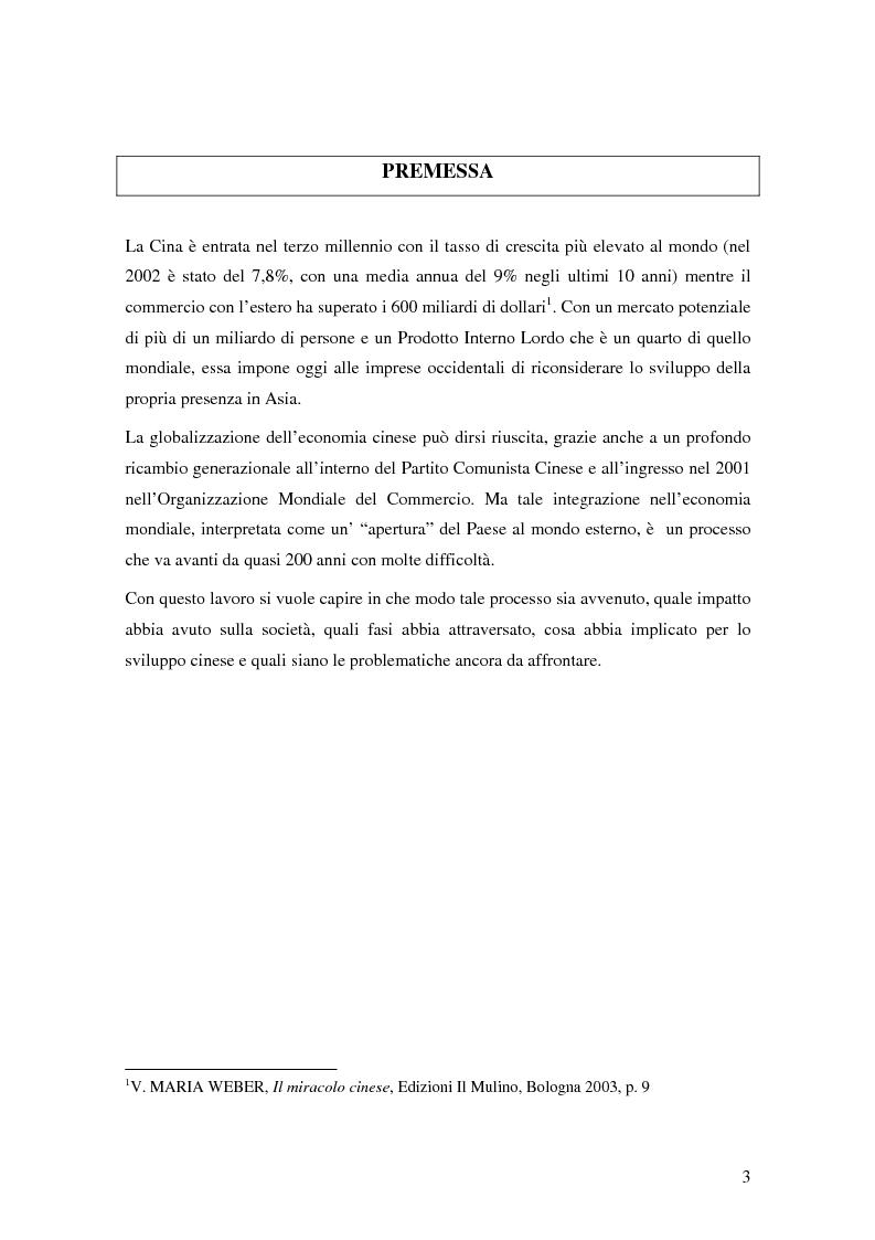 Anteprima della tesi: Storia del commercio della Cina contemporanea e dei mutamenti economici e sociali causati dall'ingresso nell'OMC e nel commercio internazionale, Pagina 1