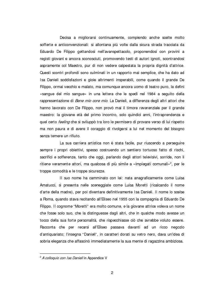 Anteprima della tesi: Ritratto d'attrice: Isa Danieli, dall'esordio teatrale all'incontro con la drammaturgia contemporanea, Pagina 2