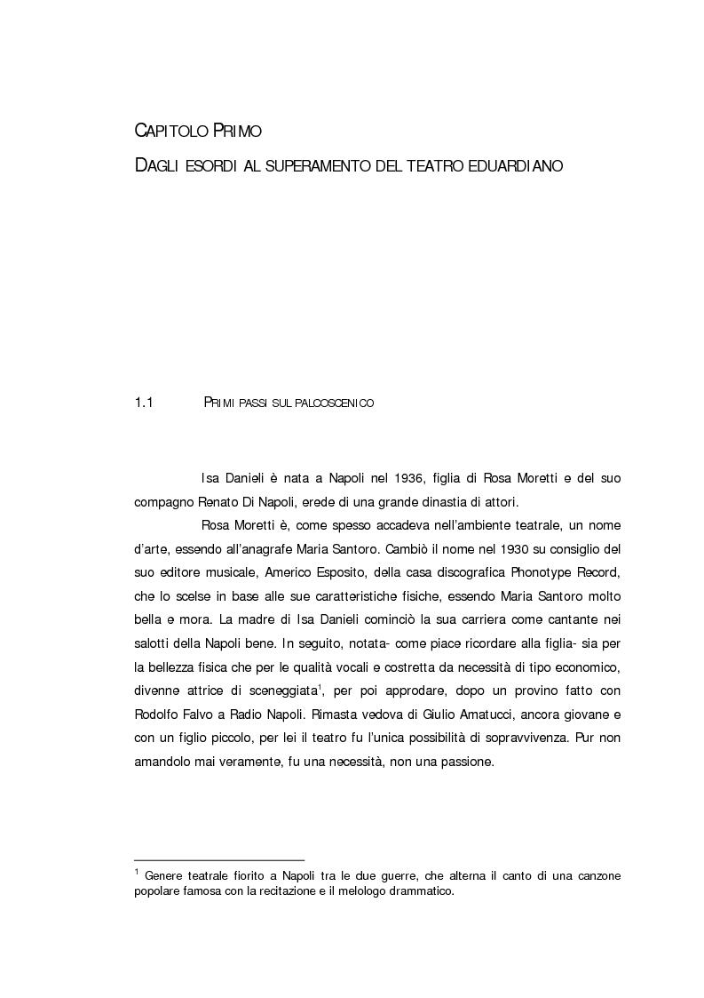 Anteprima della tesi: Ritratto d'attrice: Isa Danieli, dall'esordio teatrale all'incontro con la drammaturgia contemporanea, Pagina 4