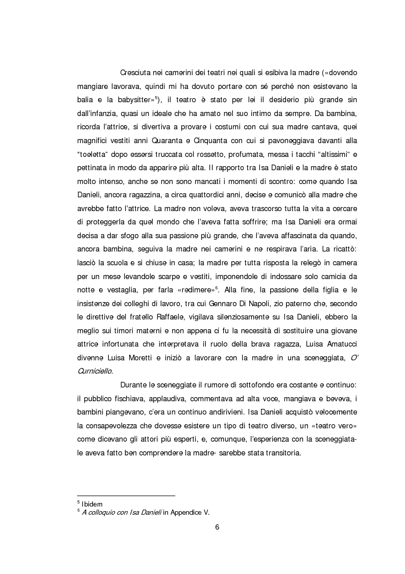 Anteprima della tesi: Ritratto d'attrice: Isa Danieli, dall'esordio teatrale all'incontro con la drammaturgia contemporanea, Pagina 6