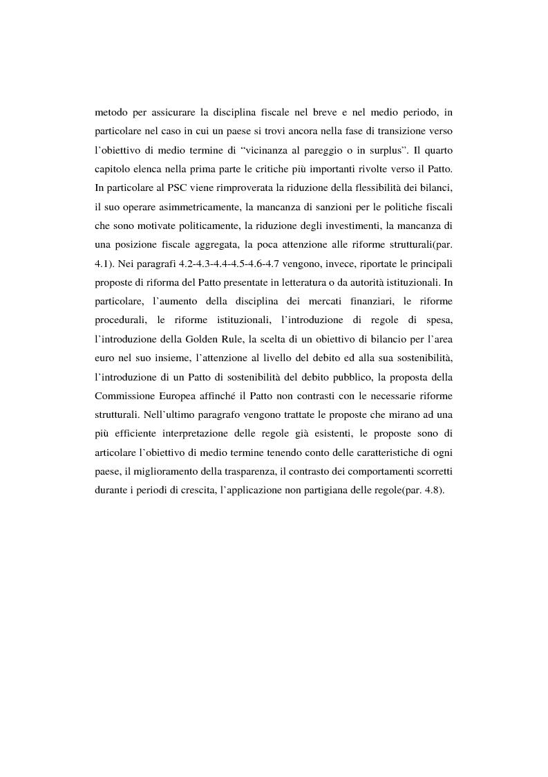 Anteprima della tesi: Successi e limiti del Patto di Stabilità e Crescita, Pagina 4