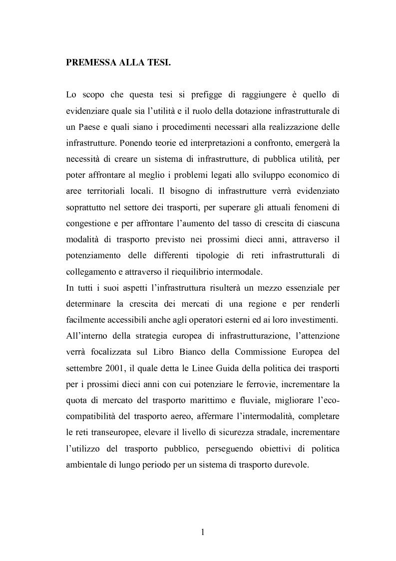 Anteprima della tesi: Il ruolo delle infrastrutture nello sviluppo regionale: la complessità normativa come fattore di rallentamento dei processi decisionali, Pagina 1