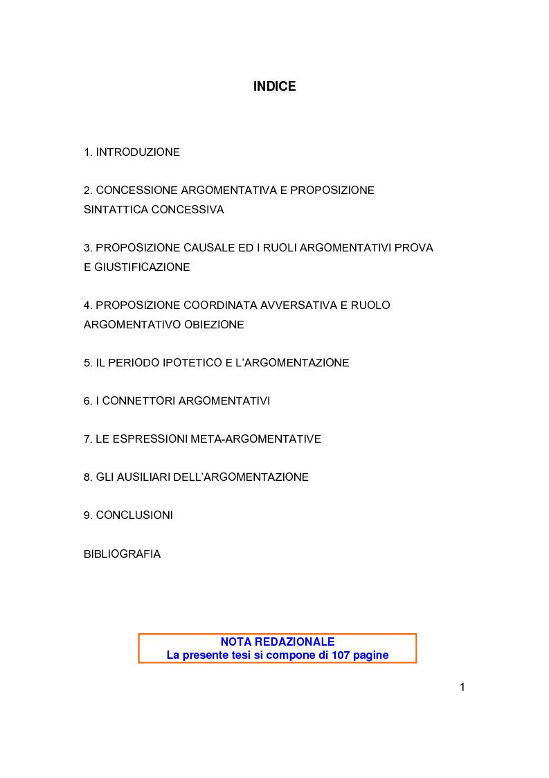 Indice della tesi: Sintassi e lessico dell'argomentazione, Pagina 1