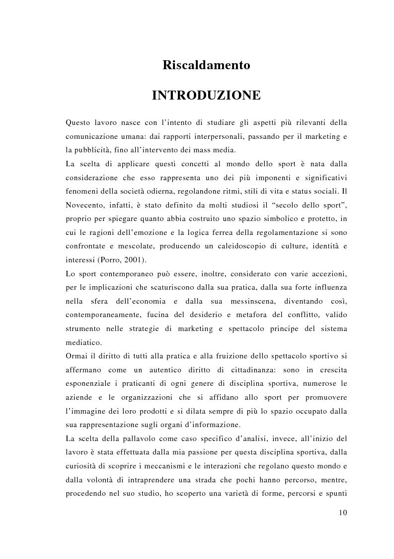 Anteprima della tesi: Comunicazione e sport: il caso della pallavolo, Pagina 1