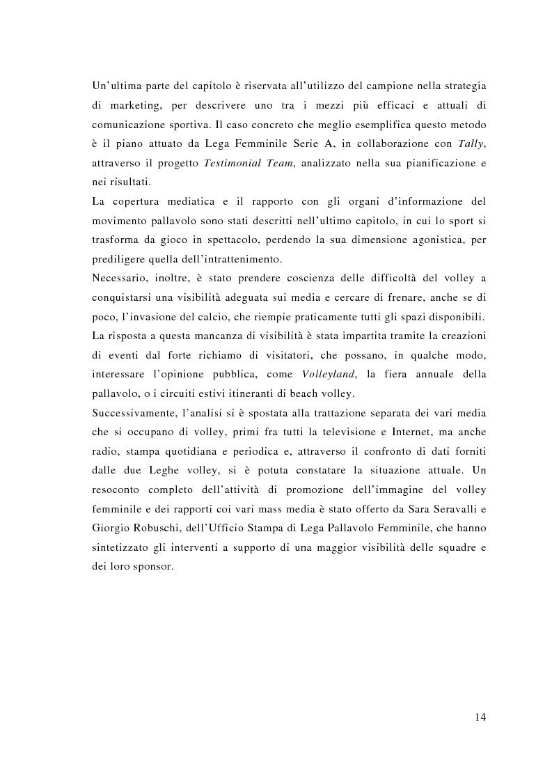 Anteprima della tesi: Comunicazione e sport: il caso della pallavolo, Pagina 5