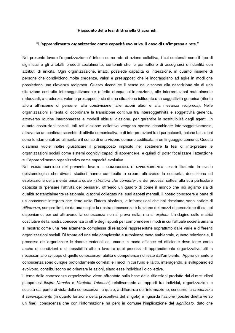 Anteprima della tesi: L'apprendimento organizzativo come capacità evolutiva. Il caso di un'impresa a rete., Pagina 1