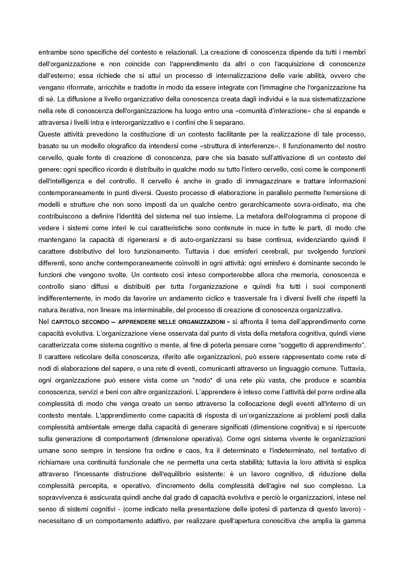 Anteprima della tesi: L'apprendimento organizzativo come capacità evolutiva. Il caso di un'impresa a rete., Pagina 2