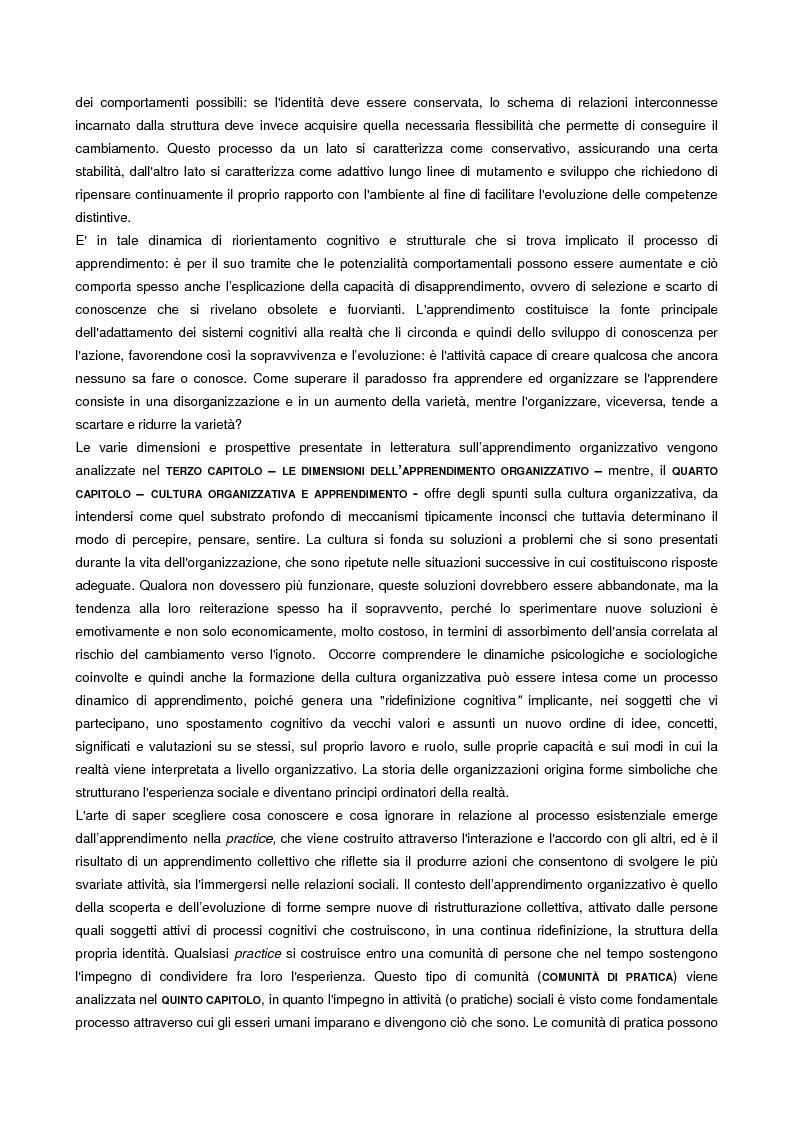 Anteprima della tesi: L'apprendimento organizzativo come capacità evolutiva. Il caso di un'impresa a rete., Pagina 3