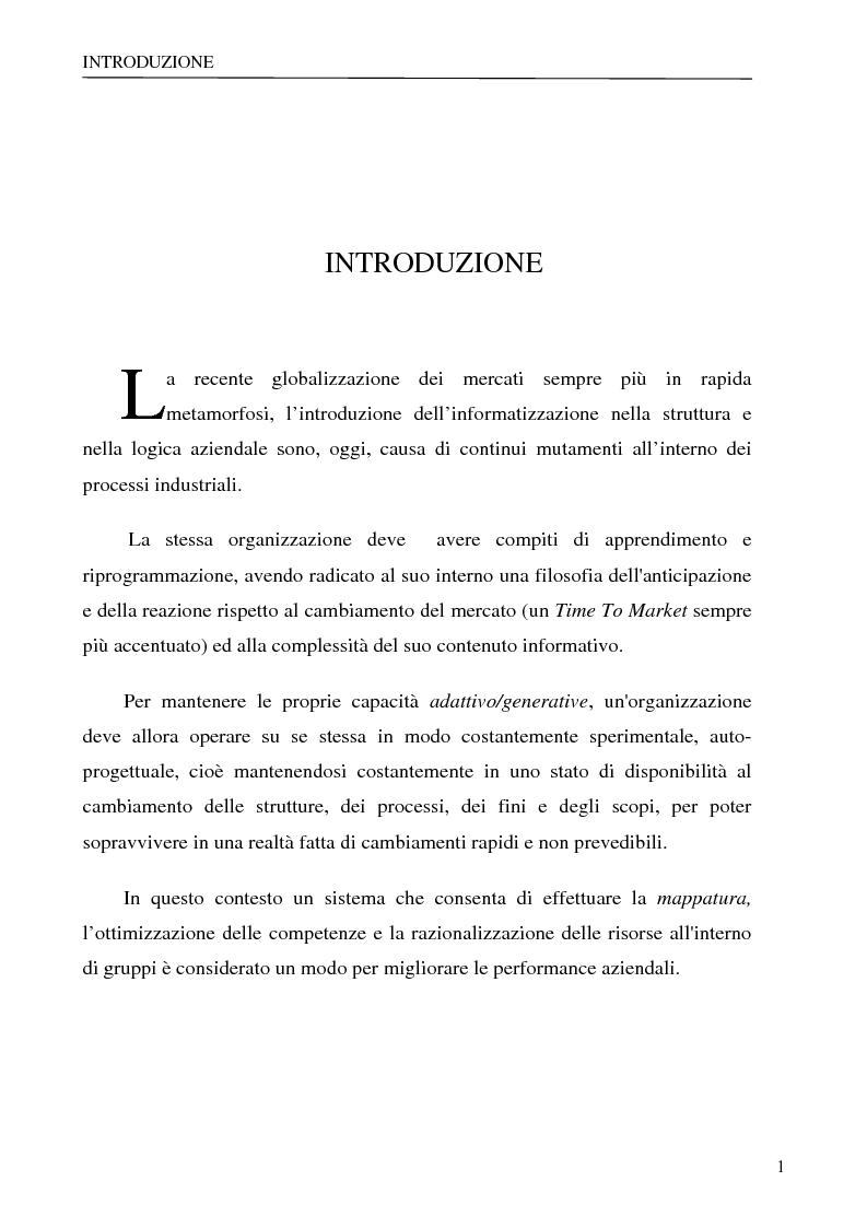 Anteprima della tesi: Sistema per la gestione degli skills con metodologie di rappresentazione della conoscenza, Pagina 1