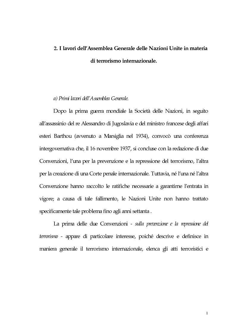 Anteprima della tesi: Aspetti giuridici del terrorismo internazionale, Pagina 1