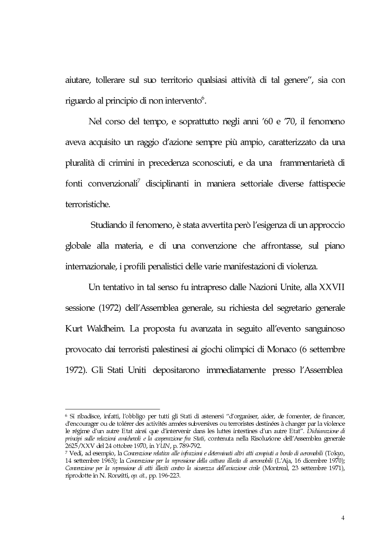 Anteprima della tesi: Aspetti giuridici del terrorismo internazionale, Pagina 4