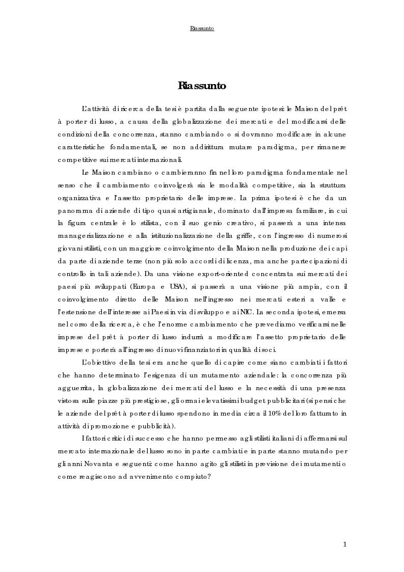 Anteprima della tesi: Strategie di internazionalizzazione delle imprese del prêt à porter di lusso italiane, Pagina 1