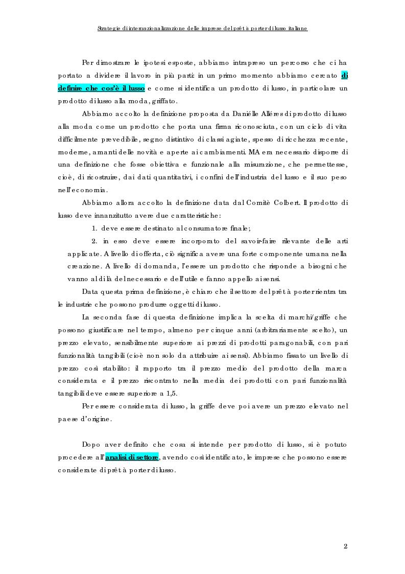 Anteprima della tesi: Strategie di internazionalizzazione delle imprese del prêt à porter di lusso italiane, Pagina 2