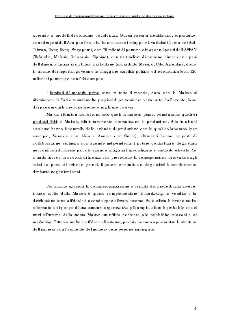 Anteprima della tesi: Strategie di internazionalizzazione delle imprese del prêt à porter di lusso italiane, Pagina 4