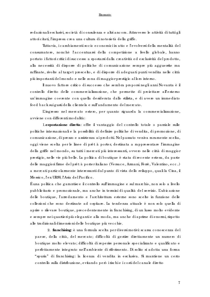 Anteprima della tesi: Strategie di internazionalizzazione delle imprese del prêt à porter di lusso italiane, Pagina 7