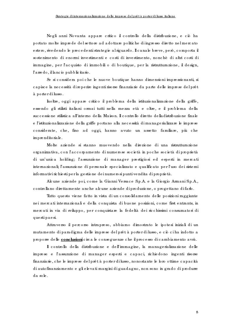 Anteprima della tesi: Strategie di internazionalizzazione delle imprese del prêt à porter di lusso italiane, Pagina 8
