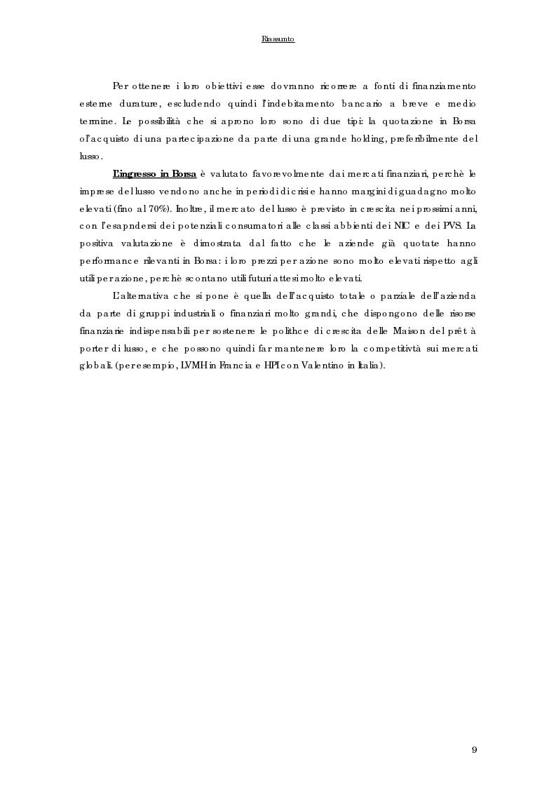 Anteprima della tesi: Strategie di internazionalizzazione delle imprese del prêt à porter di lusso italiane, Pagina 9
