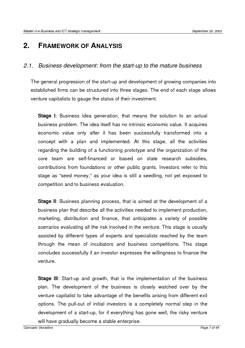 Anteprima della tesi: Comparison of the business planning problems at different innovation stages of the Utterback and Abernathy's model, Pagina 4