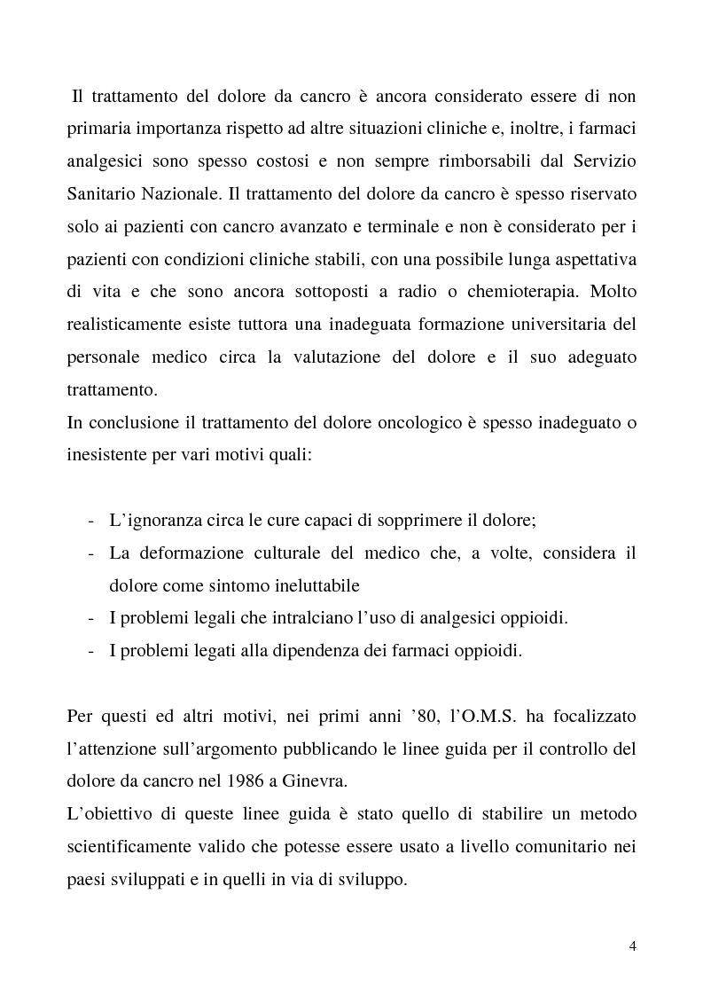 Anteprima della tesi: Trattamento del dolore oncologico, Pagina 2