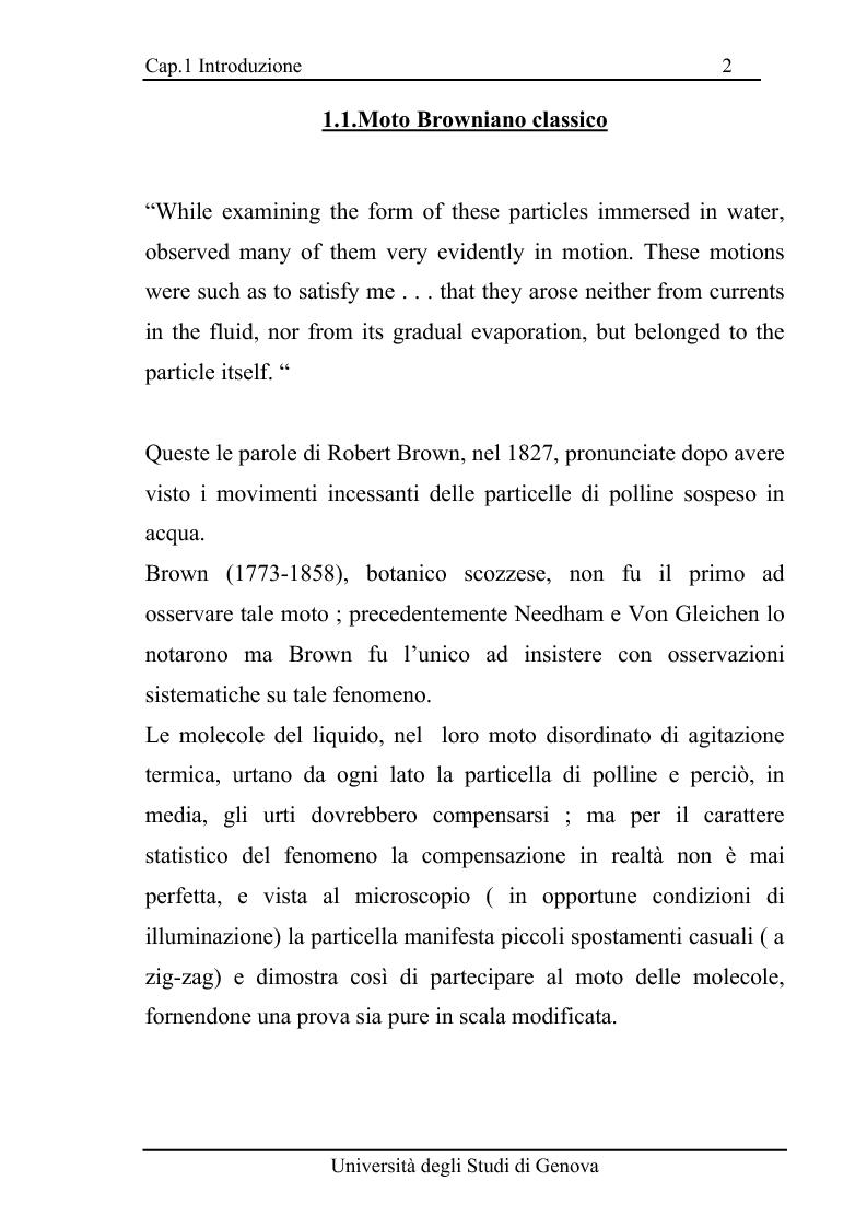 Anteprima della tesi: Equazioni di evoluzione di processi aleatori in meccanica classica e quantistica, Pagina 1