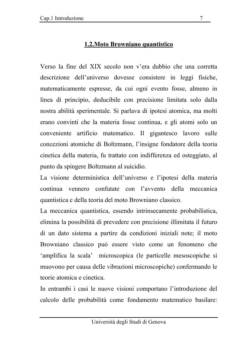 Anteprima della tesi: Equazioni di evoluzione di processi aleatori in meccanica classica e quantistica, Pagina 6