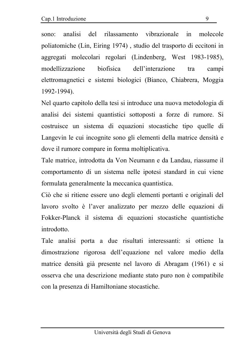 Anteprima della tesi: Equazioni di evoluzione di processi aleatori in meccanica classica e quantistica, Pagina 8
