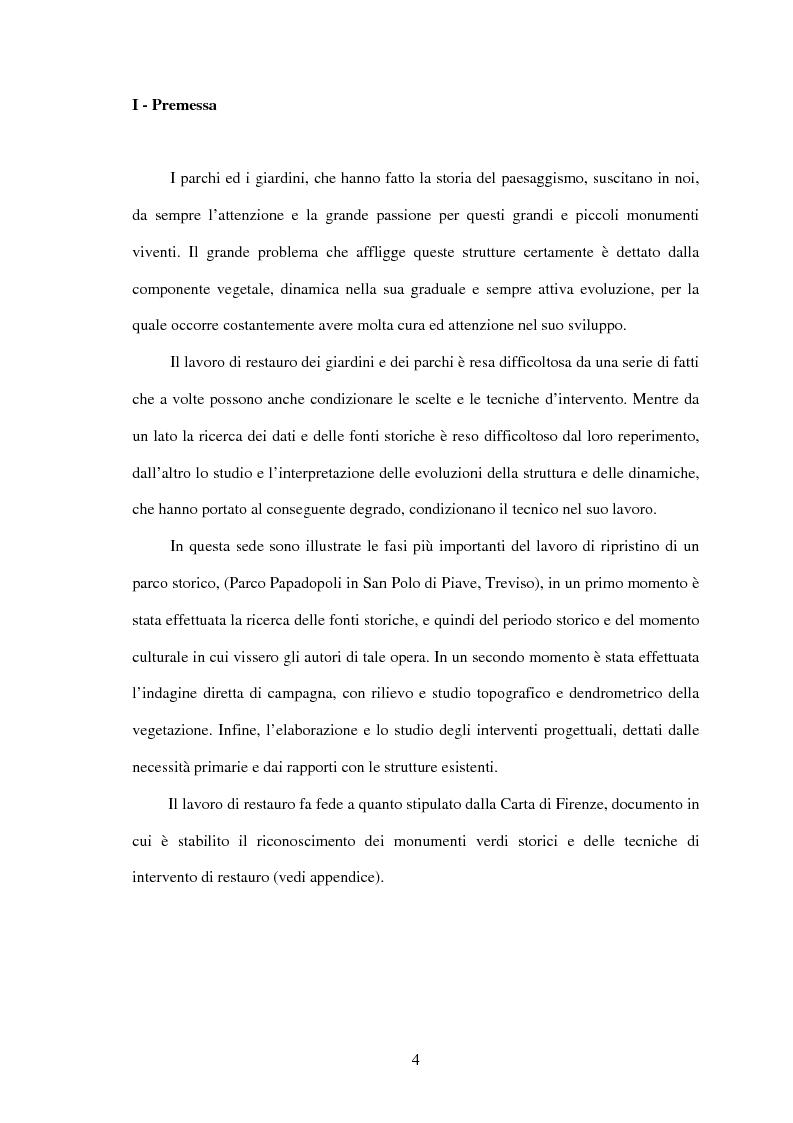 Anteprima della tesi: Il restauro di Parco Papadopoli in San Polo di Piave (Tv), Pagina 1