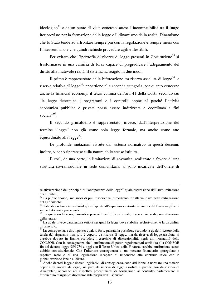Anteprima della tesi: La posizione istituzionale della CONSOB e i suoi poteri di normazione secondaria, Pagina 7