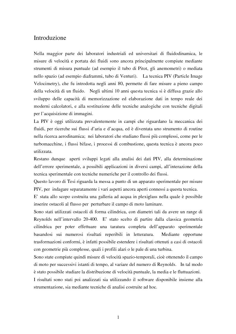 Misure sperimentali del flusso attorno ad un cilindro con tecnica P.I.V. ed analisi dei risultati - Tesi di Laurea
