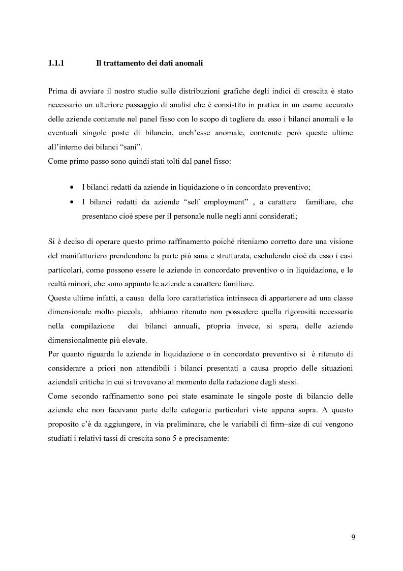 Anteprima della tesi: La distribuzione dei tassi di crescita del manifatturiero cremonese: un'analisi su panel fisso, Pagina 9