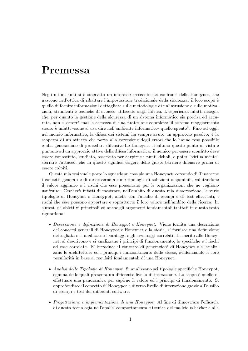 Anteprima della tesi: Sviluppo di una Honeynet nell'attività di Network Forensics, Pagina 1