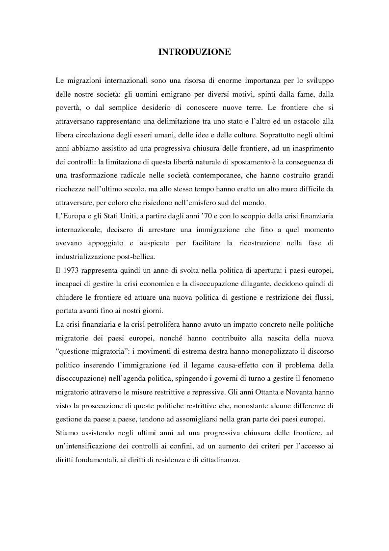 Anteprima della tesi: L'ingresso e il soggiorno degli stranieri non comunitari in Europa: tra cittadinanza ed esclusione. I casi di Francia e Spagna., Pagina 1