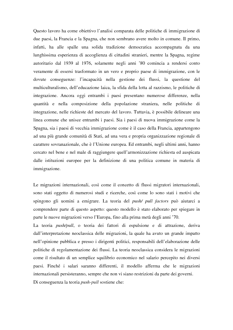 Anteprima della tesi: L'ingresso e il soggiorno degli stranieri non comunitari in Europa: tra cittadinanza ed esclusione. I casi di Francia e Spagna., Pagina 2