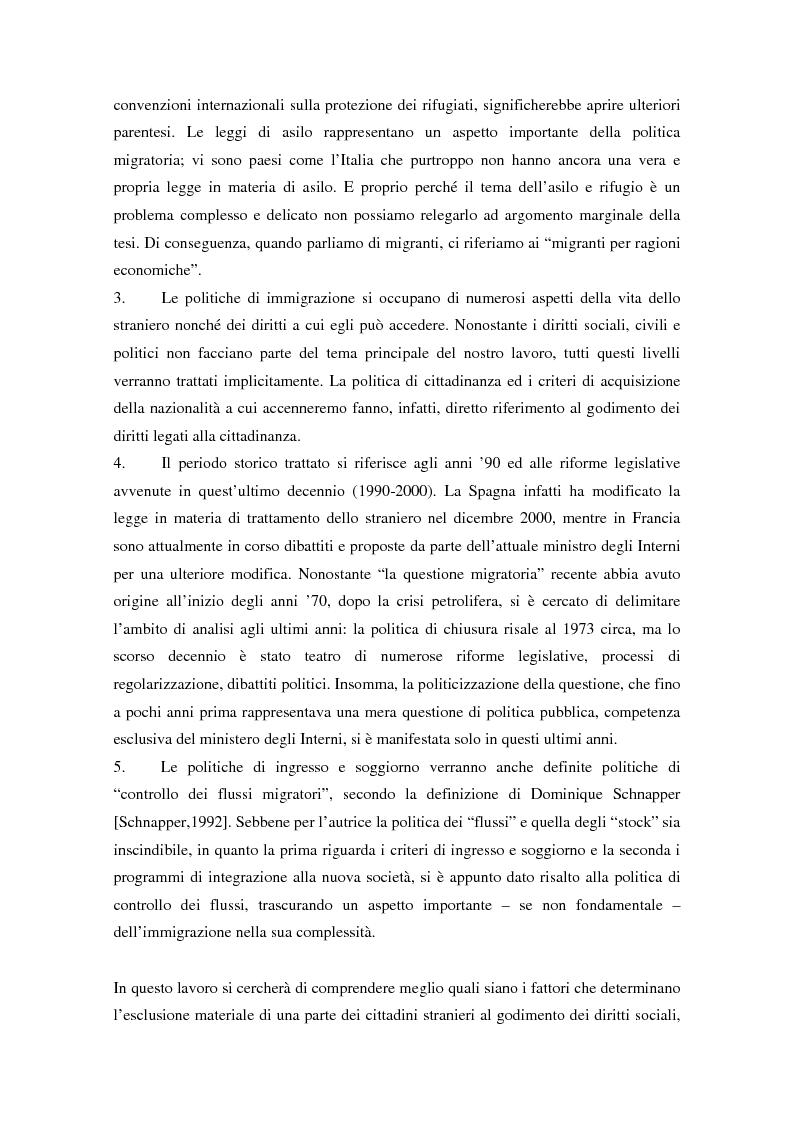 Anteprima della tesi: L'ingresso e il soggiorno degli stranieri non comunitari in Europa: tra cittadinanza ed esclusione. I casi di Francia e Spagna., Pagina 6
