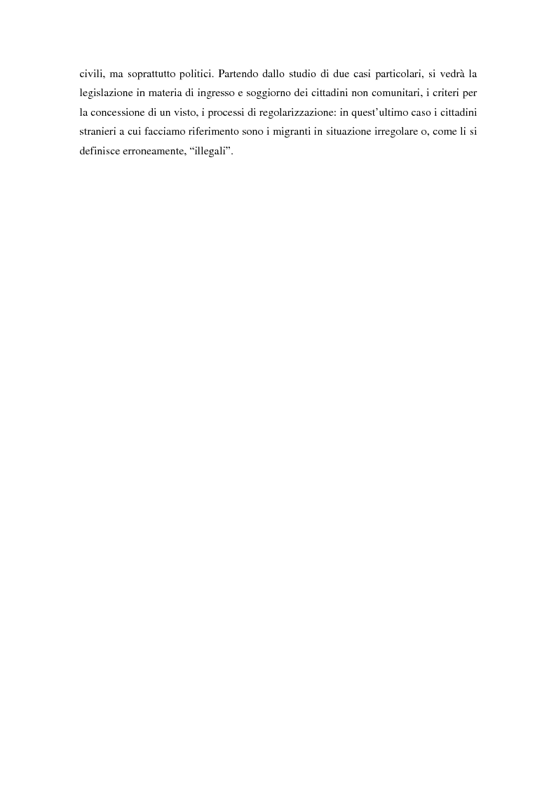 Anteprima della tesi: L'ingresso e il soggiorno degli stranieri non comunitari in Europa: tra cittadinanza ed esclusione. I casi di Francia e Spagna., Pagina 7