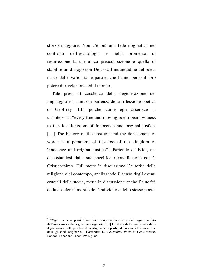 Anteprima della tesi: Le prime due sillogi di Geoffrey Hill: nascita e maturazione di una poetica della religione, della storia e del linguaggio, Pagina 2