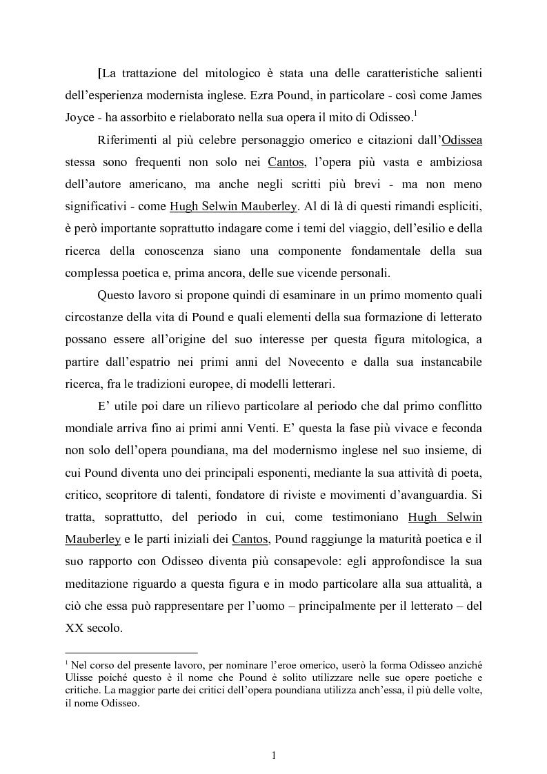 Anteprima della tesi: La figura di Odisseo nel primo Pound, Pagina 1