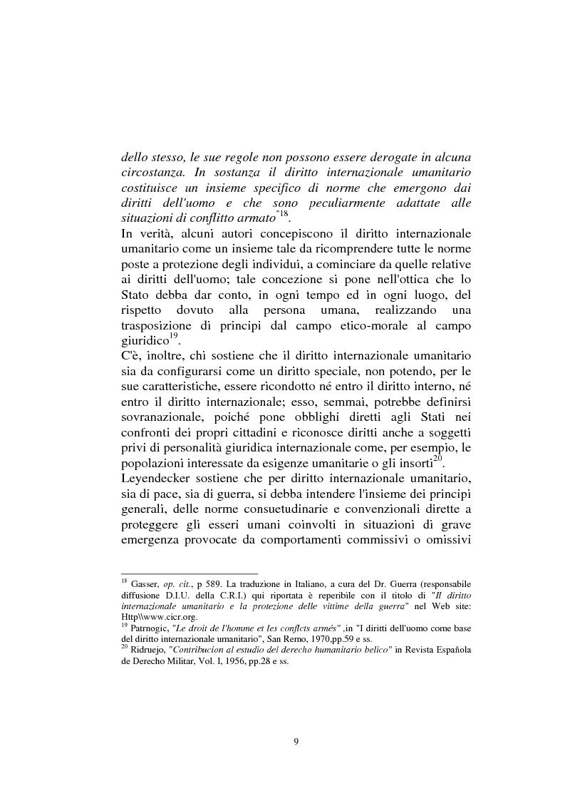 Anteprima della tesi: Diritto internazionale Umanitario - Assistenza e Protezione delle vittime dei conflitti armati, Pagina 9