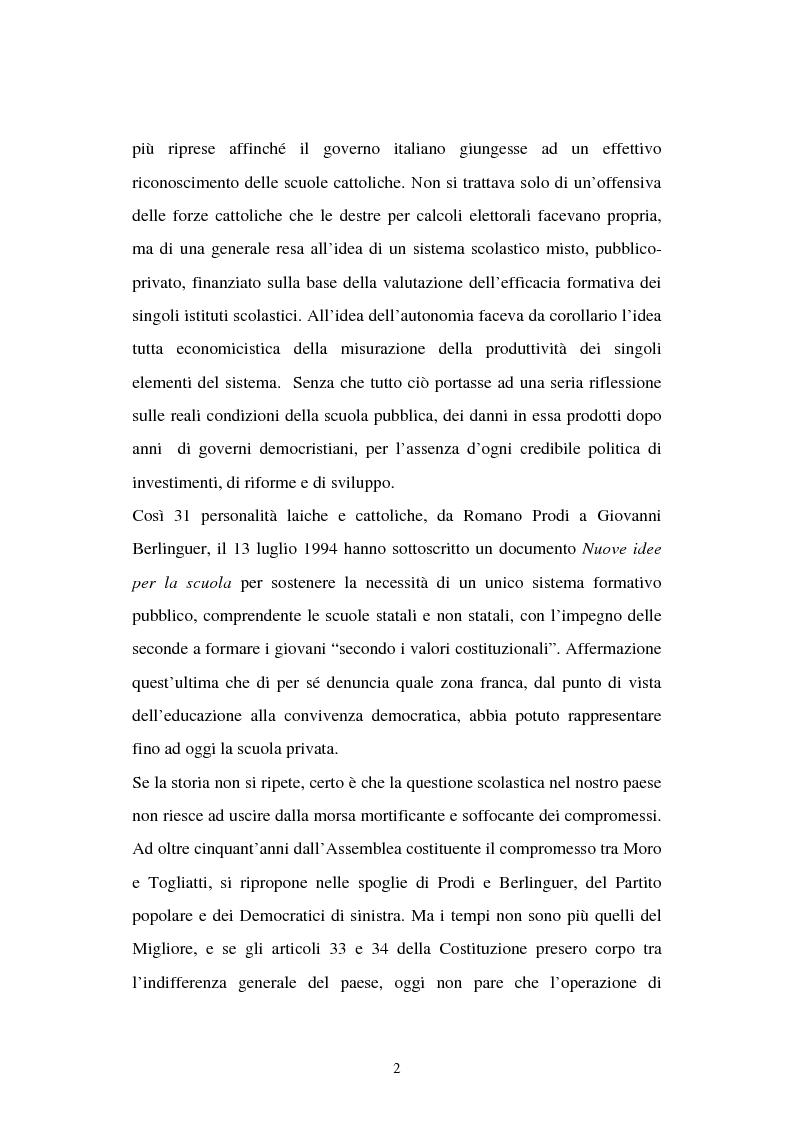 Anteprima della tesi: Libertà di scuola. Scuola di libertà. Scuola pubblica e scuola privata nel dibattito dell'Assemblea Costituente, Pagina 2
