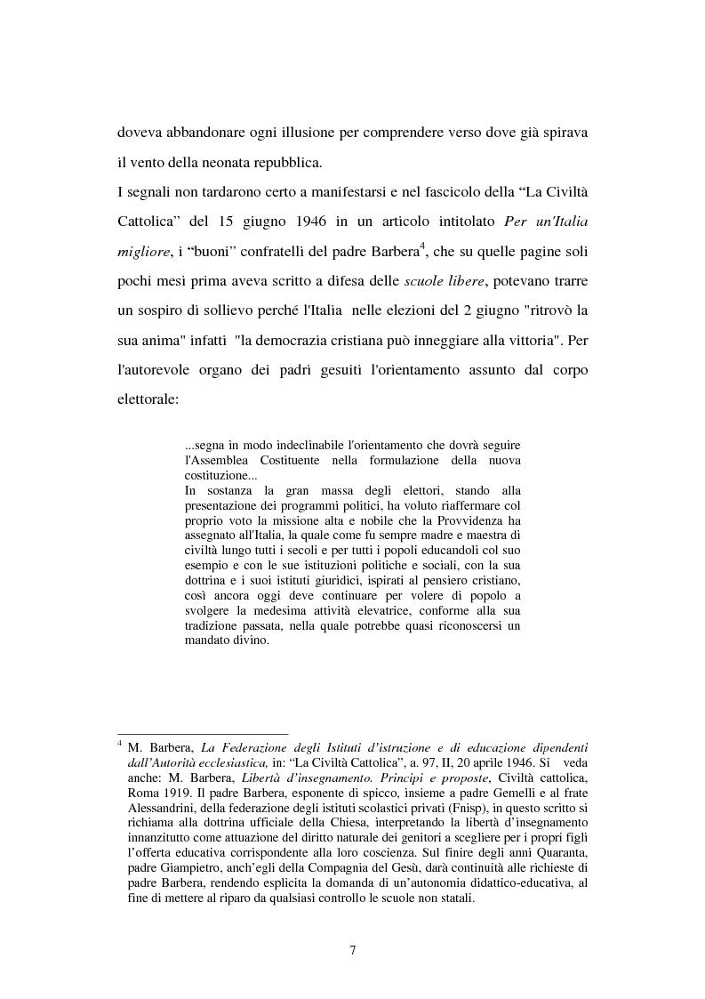 Anteprima della tesi: Libertà di scuola. Scuola di libertà. Scuola pubblica e scuola privata nel dibattito dell'Assemblea Costituente, Pagina 7