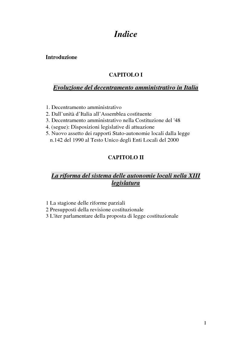 Indice della tesi: Principio di sussidiarietà e sistema amministrativo nel nuovo quadro costituzionale (articolo 4 Legge Costituzionale 18 ottobre 2001 n° 3), Pagina 1