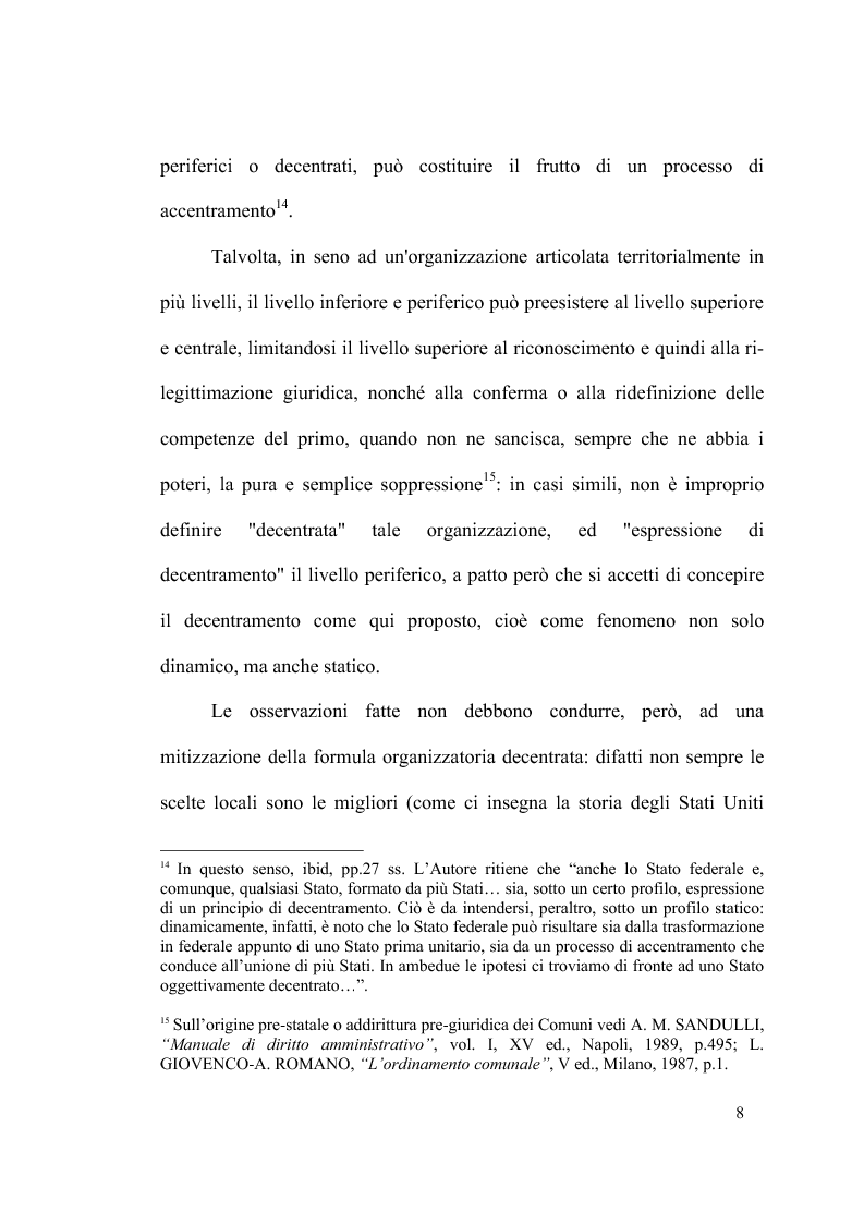 Anteprima della tesi: Principio di sussidiarietà e sistema amministrativo nel nuovo quadro costituzionale (articolo 4 Legge Costituzionale 18 ottobre 2001 n° 3), Pagina 10
