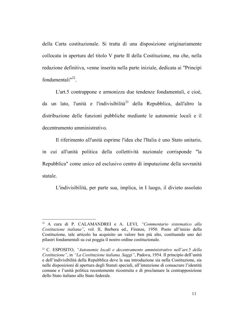 Anteprima della tesi: Principio di sussidiarietà e sistema amministrativo nel nuovo quadro costituzionale (articolo 4 Legge Costituzionale 18 ottobre 2001 n° 3), Pagina 13