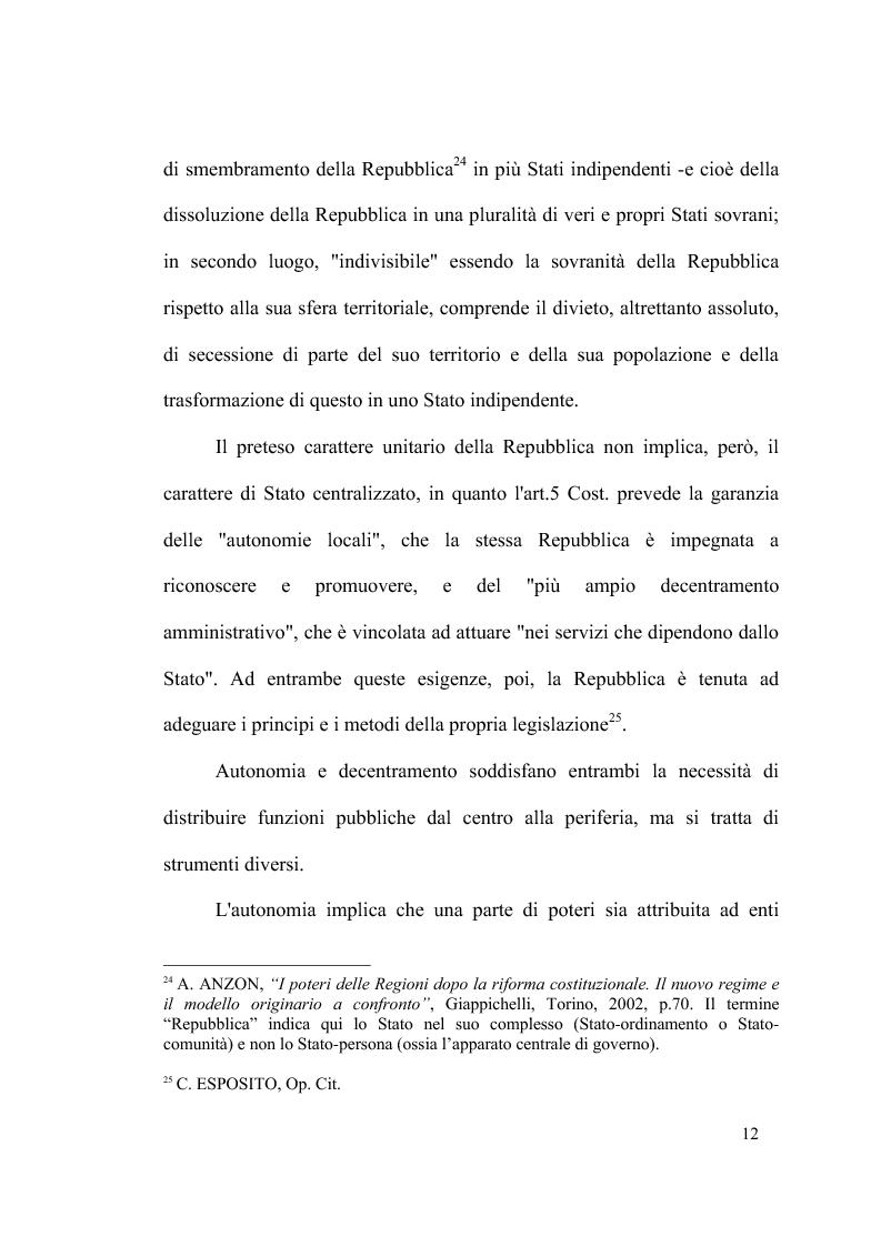 Anteprima della tesi: Principio di sussidiarietà e sistema amministrativo nel nuovo quadro costituzionale (articolo 4 Legge Costituzionale 18 ottobre 2001 n° 3), Pagina 14