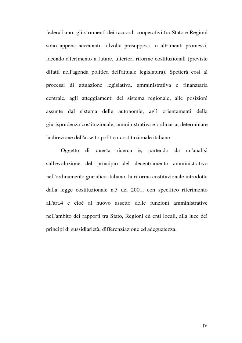 Anteprima della tesi: Principio di sussidiarietà e sistema amministrativo nel nuovo quadro costituzionale (articolo 4 Legge Costituzionale 18 ottobre 2001 n° 3), Pagina 2
