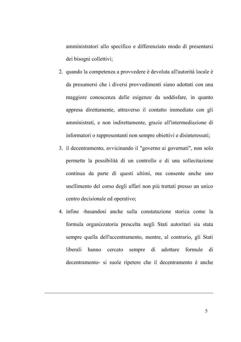 Anteprima della tesi: Principio di sussidiarietà e sistema amministrativo nel nuovo quadro costituzionale (articolo 4 Legge Costituzionale 18 ottobre 2001 n° 3), Pagina 7