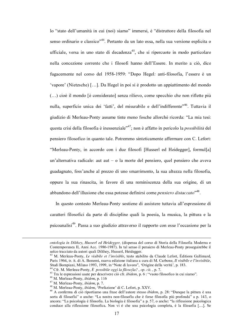 Anteprima della tesi: 'La filosofia oggi': Merleau-Ponty a partire da Husserl e da Heidegger nel corso dal Collège de France del 1958-59, Pagina 11