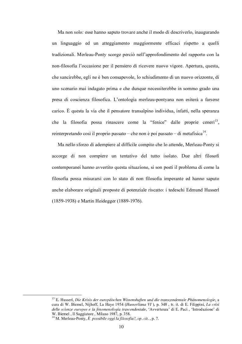 Anteprima della tesi: 'La filosofia oggi': Merleau-Ponty a partire da Husserl e da Heidegger nel corso dal Collège de France del 1958-59, Pagina 4