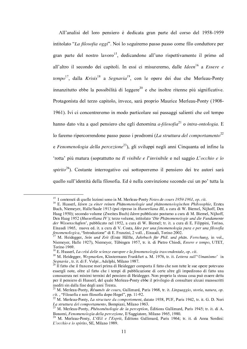 Anteprima della tesi: 'La filosofia oggi': Merleau-Ponty a partire da Husserl e da Heidegger nel corso dal Collège de France del 1958-59, Pagina 5