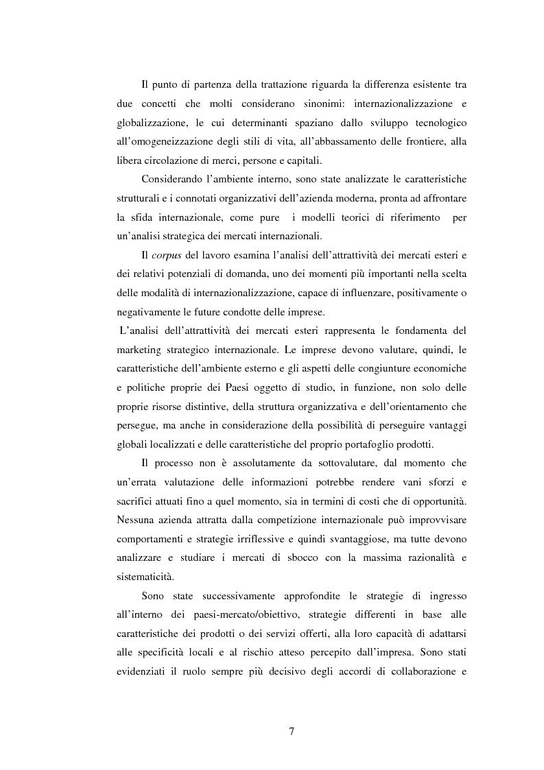 Anteprima della tesi: Attrattività dei mercati internazionali:scelta del paese obiettivo e strategie di ingresso.Il caso Landqart, Pagina 3